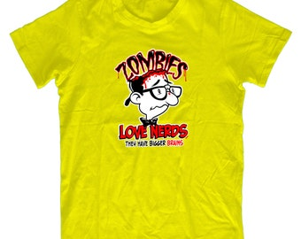 Zombie's Love Nerds Big Brains - Funny Mens & Ladies Zombie T-shirt