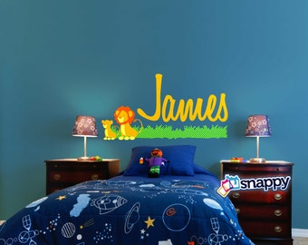 Personalized Lion Wall Decal - Custom Wall Decal for boy or girl nursery. Lion Decal, Wall Decor