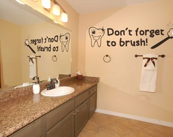 Don't forget to brush Wall Decal - Custom Wall Decal for Bathroom, Wall Decor