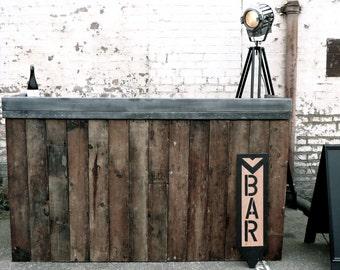 Zinc Top DJ Booth/Bar in Reclaimed Douglas Fir. Industrial Awesome.