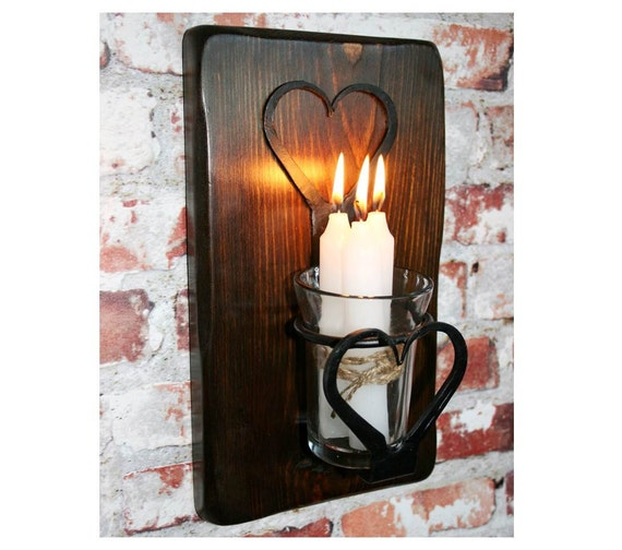 Wood And Glass Candle Wall Sconces : SCONCE CANDLE LANTERN Wrought Iron Heart Design Candle / Tea