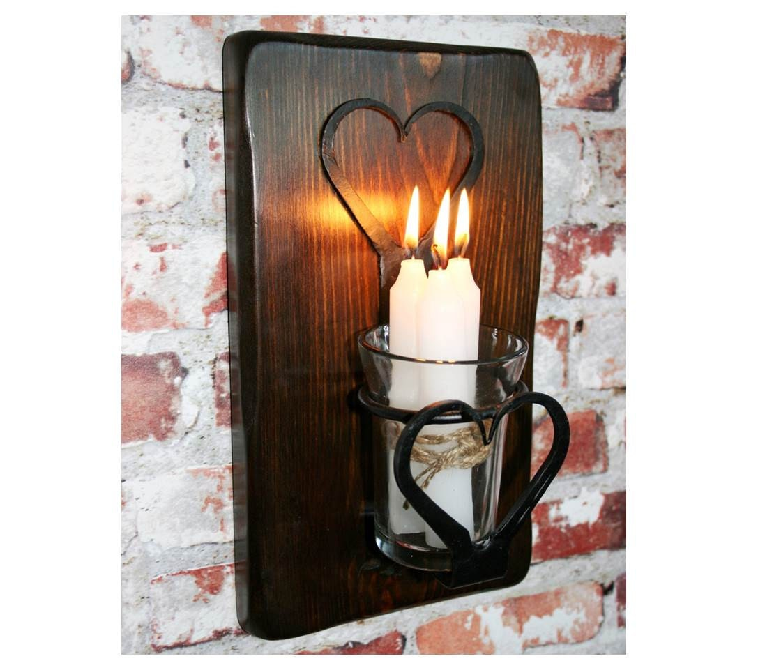 Large Rustic Finish Lantern Wall Mounted Light Sconce: SCONCE CANDLE LANTERN Wrought Iron Heart Design Candle / Tea
