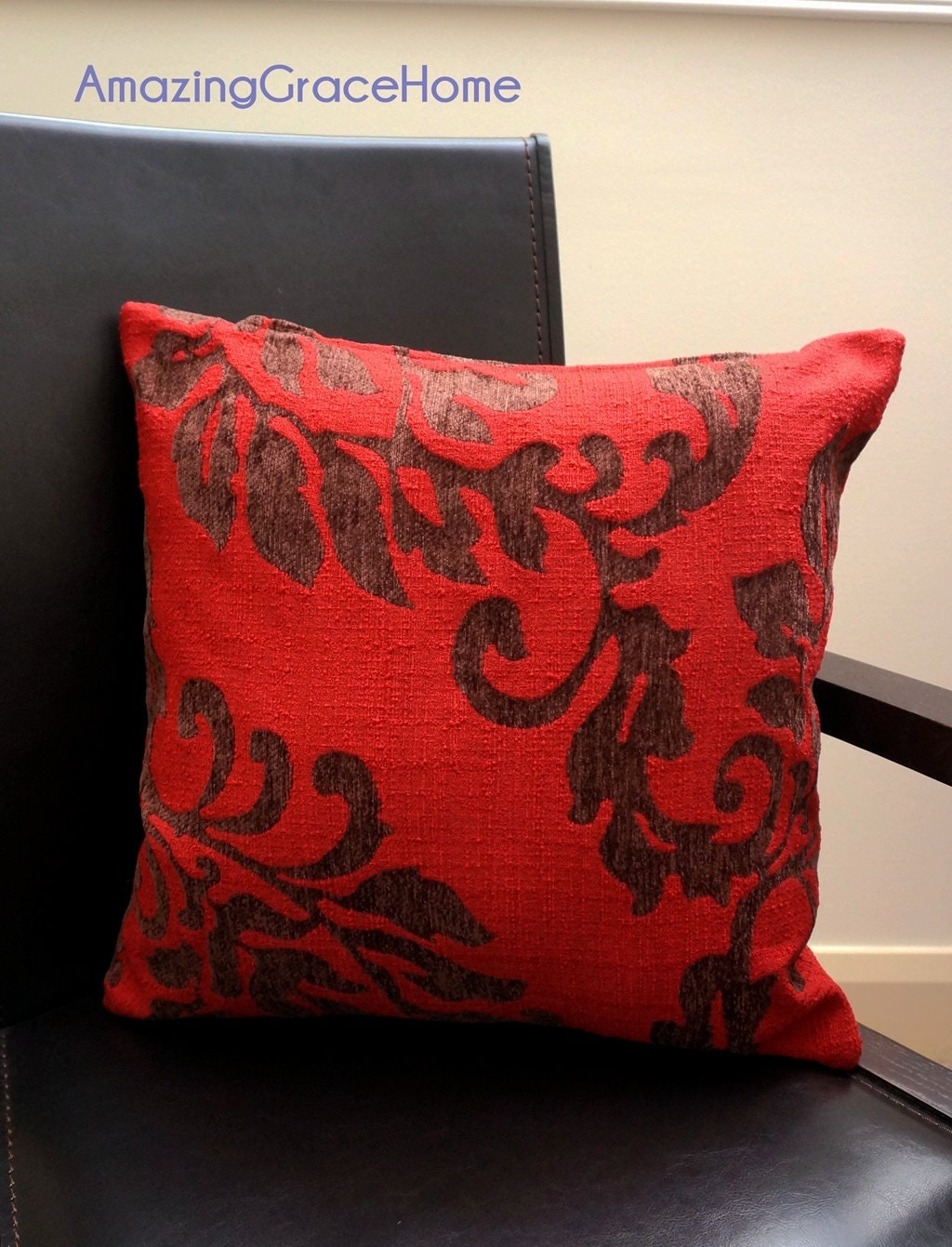 Chenille Throw Pillow Covers : Sale Red chenille throw pillow covers floral Embroidered