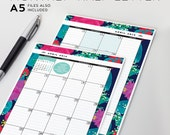 20% OFF Monthly Planner (Set) Printable - Jan-Dec 2015, Cover & Coordinating Pages - Half Letter + A5 - Midnight Summer Floral