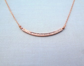 Pave Diamond Necklace, Rose Gold Pave Diamond Necklace, Anniversary Gift For Her, Diamond Jewelry, Rose Gold Pave Jewelry