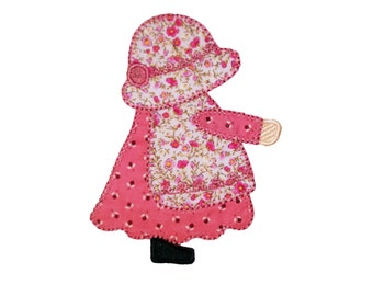 """Instant download! Aproned Sunbonnet Sue embroidered applique with buttonhole stitching . 4"""" x 4"""" and 5"""" x 7"""""""