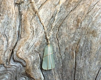 Seafoam green sea glass necklace