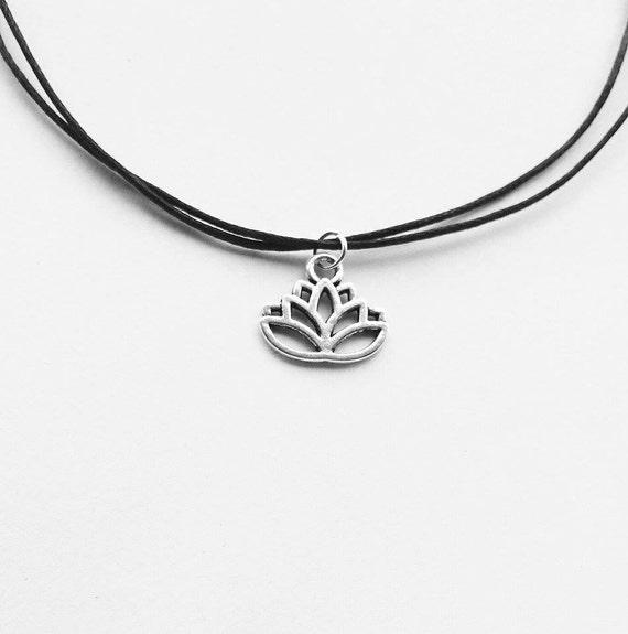 Lotus Flower Charm Choker Necklace on Adjustable Black Cord