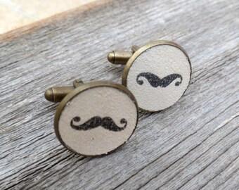 Black And White Mustache Cufflinks - Mustache Cufflinks For Men - Men's Jewelry - Men's Accessories - Gift For Men's