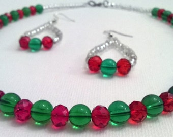 Handmade Red and Green Christmas Beaded Necklace and Earring Set