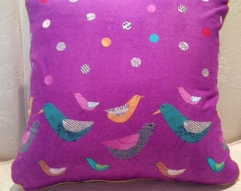 Purple Pillow Cover with Birds