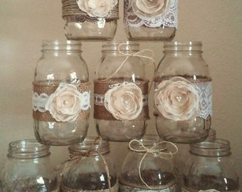 Mason Jar Centerpieces, Rustic Mason Jars, Wedding Centerpieces, Rustic Mason Jar,  Burlap and Lace Mason Jars, Jar not Included