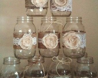 Mason Jar Centerpieces Rustic Jars Wedding Burlap