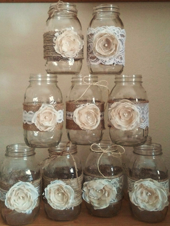 Mason jar centerpieces rustic jars wedding