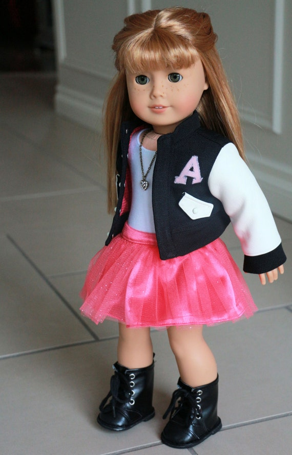 American Girl Doll Clothes fits 18 inch Dolls, School Days  Letterman Jacket, Pink Tulle Skirt, White Onesie, and necklace