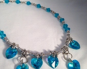 Blue beaded necklace, blue necklace, heart necklace, heart jewelry, aqua beaded necklace, aqua necklace, beaded necklace