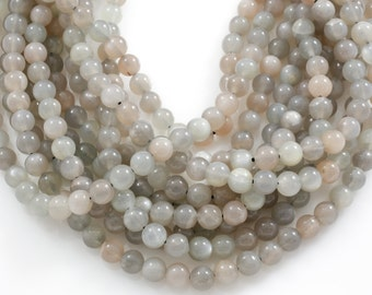 Natural Smooth Multicolored Rainbow Moonstone Beads. Full Strand, 4mm, 6mm, 8mm, 12mm, or 14mm Beads.