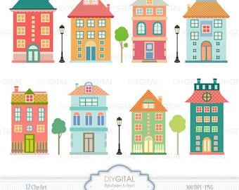 Houses Clip Art Set -12 Printable cliparts for scrapbooking, cards, web graphics - PNG- 300dpi- Instant Download