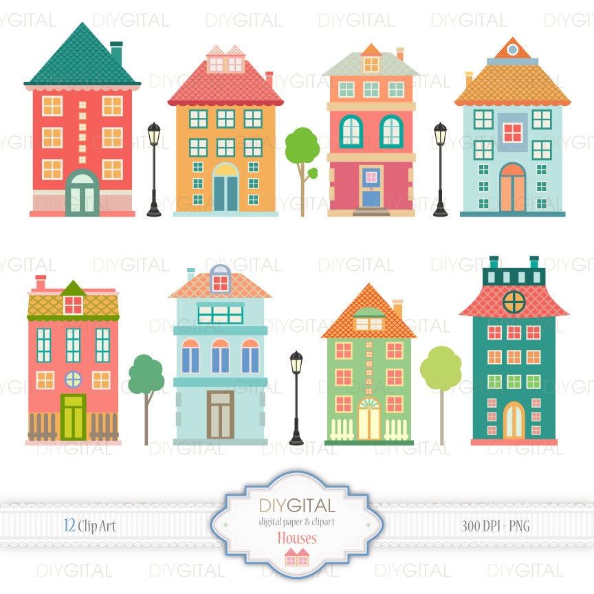 Houses Clip Art Set 12 Printable cliparts for scrapbooking
