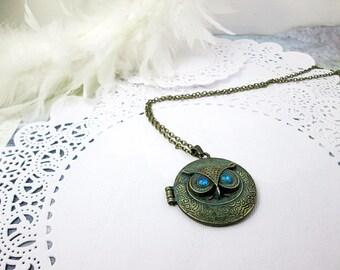 Steampunk Blue Eyes Owl Locket Necklace Secret Message Keepsake Necklace Athena Owl Necklace Knowledge Wisdom Jewelry Protection Necklace