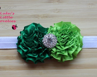 Green Headband Double Flower with Rhinestone Center on your choice elastic or clip Newborn - Adult Photoshoot Birthday St. Patrick's Day