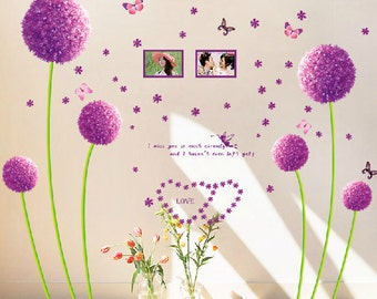 Dandelion wall decals Photo wall stickers vinyl wall decals butterfly decal wall Stickers Removable decorative bedroom wall stickers