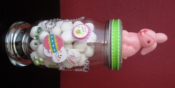 Easter bunny table centerpiece apothecary candy by mymojojars
