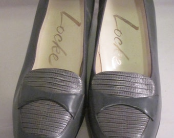 Vintage Locke - Gray Leather with Alligator Grained Calf Trim 1970's Pumps - Size 7B