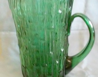 Vintage Mid Century Art Glass Pitcher Bamboo Design