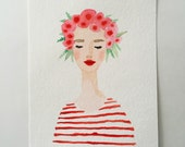 Flower crown girl original watercolor painting. Red lips, stripes, flowers, floral. Fashion illustration lady, beauty, glamour, original art