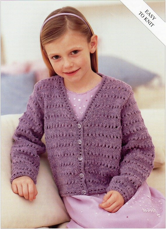 Easy Knitting Patterns For Toddlers Sweaters : Girls Knitting pattern Girls Cardigan Childs Cardigan Easy