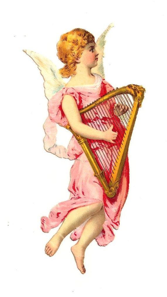 Engel mit Harfe. Antike Die Ausschneiden Figur 21 cm. Deutschland. 1920 Vintage. Weihnachten. Ende des Jahres.