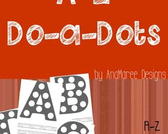 Homeschool Printable, alphabet, do-a-dot, do a dots, ABC, ABCs, kindergarten, pre-K, preschool, 1st grade, first grade