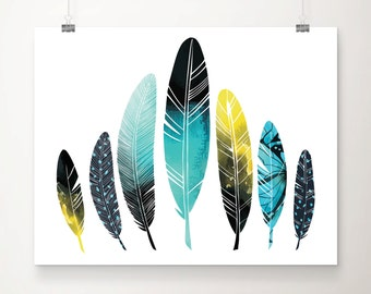 Watercolor Feathers Art Print - Wall Art - Home Decor - Office Decor