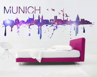 Munich City Skyline Cosmic Effect Sticker - Home Design - Art Print - Wall Decals - Also available as Poster