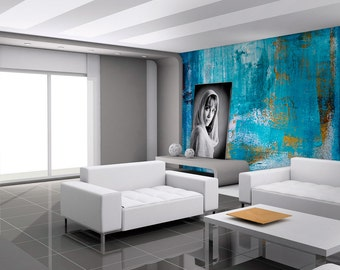 Urban Blue Art   Wall Mural   Repositionable Adhesive Fabric   Self Adhesive  Wall Covering Part 68