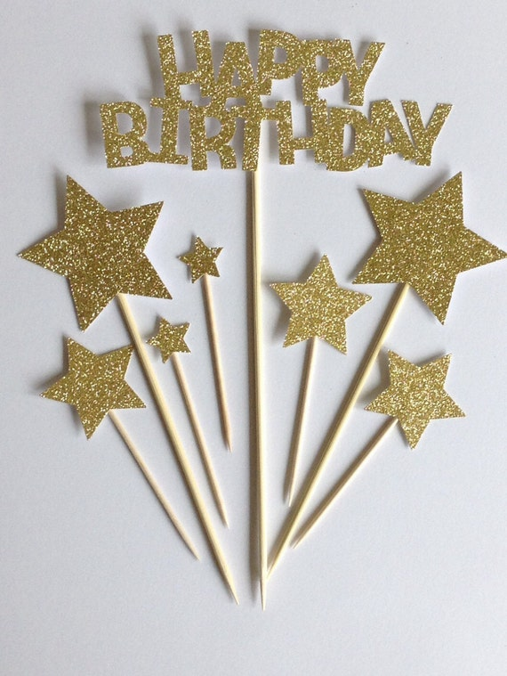 Gold Happy Birthday Cake Toppers Gold Glitter by Cardoodle ...