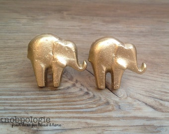 SET OF 2 - Metallic Gold or other Custom Color Color Cast Iron Elephant Knob - Baby Elephant Drawer Pull - Zoo Animal Theme - Nursery decor