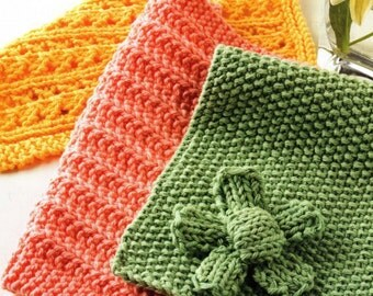 Hand-knitted dishcloths (set) in three popular colors