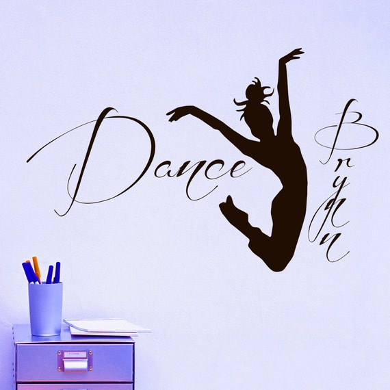 Personalized Name Wall Decal Dancer Dance Wall Decal Vinyl Sticker Girls Name Dance Studio Bedroom Wall Art Vinyl Decor Dance Gifts Z688
