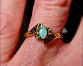 Opal & Diamond ring.10K Solid Gold. Genuine Solid Australian opal.Lovely Vintage Engagement Ring, Wedding Ring, Filigree opal ring