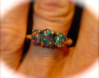 Perfect Opal engagement ring or Opal wedding ring.  Genuine Australian Natural Opal ring. Three Vivid Opals. Handmade setting. 14K /Sterling