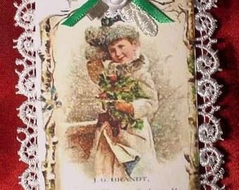 New Handmade Vintage Style Victorian Christmas Card Tree Ornament - Xmas Child