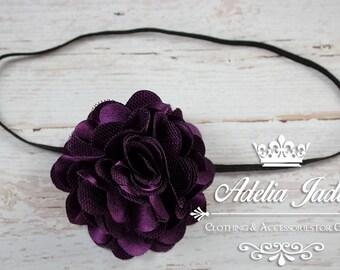 Eggplant Purple Baby Headband, Flower Girl Headband, Purple Satin Lace Baby Girl Headband, Little Girl Headband, Infant Newborn Headband