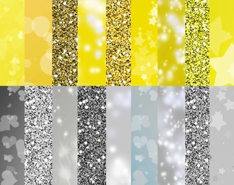 """Gold and silver glitter digital paper, """"METAL SPARKLE"""", Glittery and bokeh patterns, Gold bokeh paper, Blue backgrounds"""