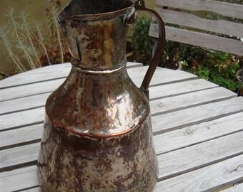 Vintage Turkish Copper Pitcher, Water Jug, Ewer