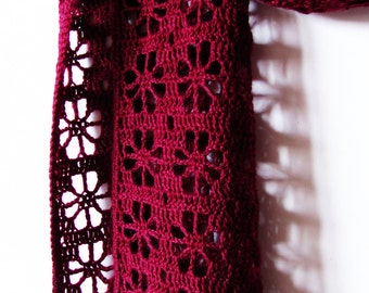 Cherries - Hand Crocheted Scarf - Ready To Ship