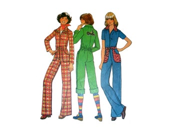 "Retro Teen Jumpsuit Sewing Pattern Junior Size 7/8 Bust 29"" Vintage 1970's Simplicity 7642"