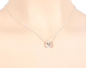 Rock cristal pendant necklace,single gem necklace,AAA natural cristal faceted pear,rock cristal briolette teardrop,in 925 sterling silver