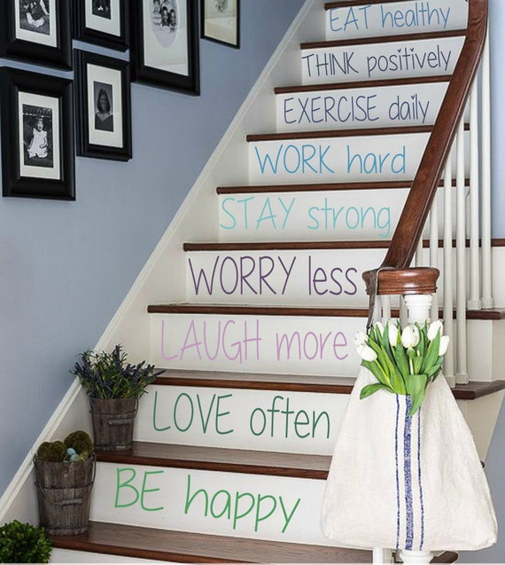 Foyer Stairs Quote : Free shipping wall decal quote be happy by decalmyhappyshop